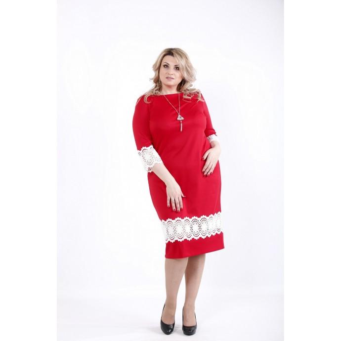 Красное яркое платье из трикотажа с кружевом ККК531-01059-3