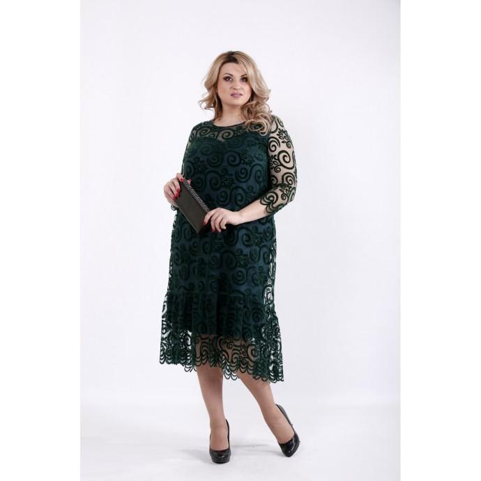 Зеленое платье с сеткой флок ККК517-01064-2
