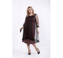 Бисквитное платье с органзой ККК519-01063-3