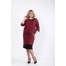 Бордовое платье из габардина ККК535-01058-2