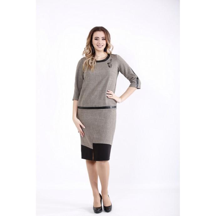 Горчичное платье из габардина ККК536-01058-1