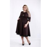 Шоколадное пышное платье ККК542-01056-1