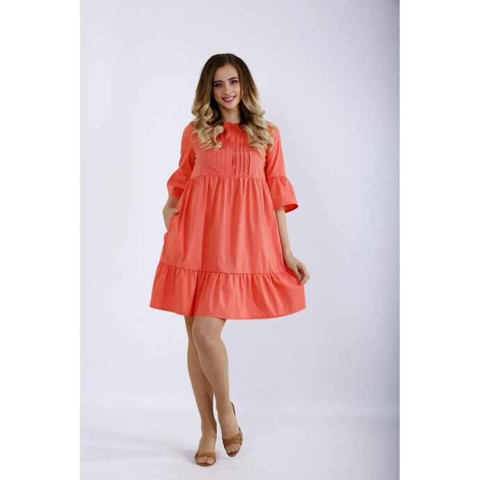 Короткое коралловое платье ККК44415-01206-1