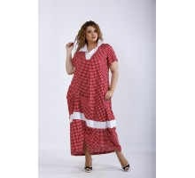 Красное платье ниже колена в клетку ККК44420-01204-2