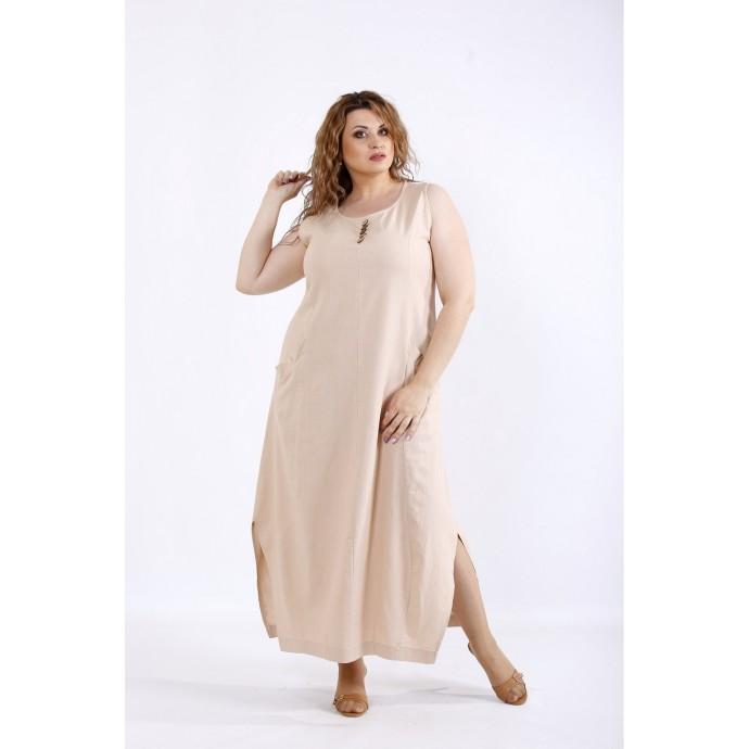 Бежевый льняной легкий сарафан ККК44425-01202-3