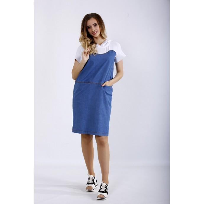 Комбинированное платье из двух тканей ККК44431-01200-1