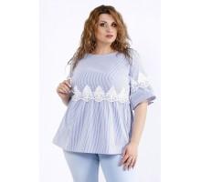 Блузка с кружевом в голубую полоскуККК44433-01199-2