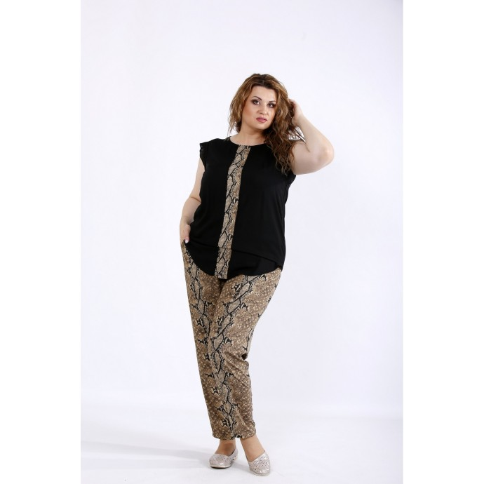 Комплект: штаны и блузка с принтом питон ККК44438-01197-3