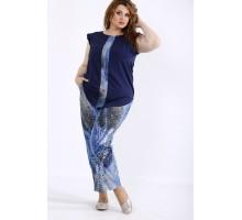 Сине-голубой комплект: блузка и штаны ККК44440-01197-1