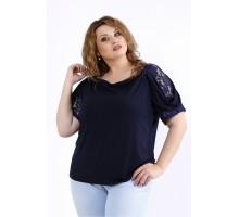 Синяя блузка с коротким рукавом ККК44441-01196-3