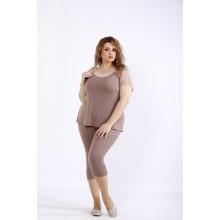 Бежевый комплект: капри и блузка ККК44445-01195-2