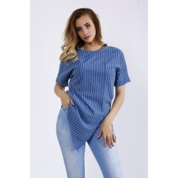 Льняная блузка в полоску ККК44452-01193-1