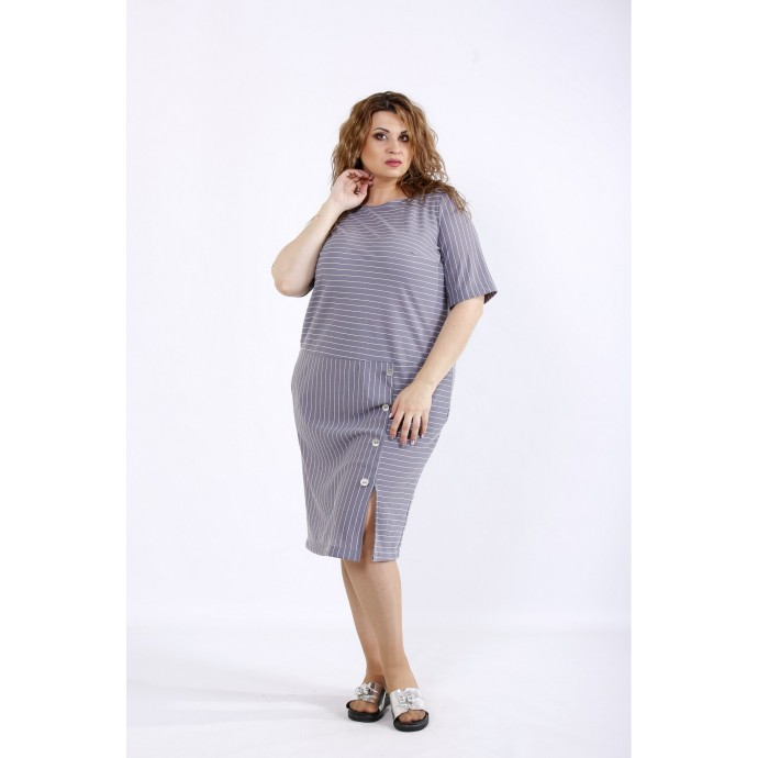 Легкое серое платье ККК44457-01191-2