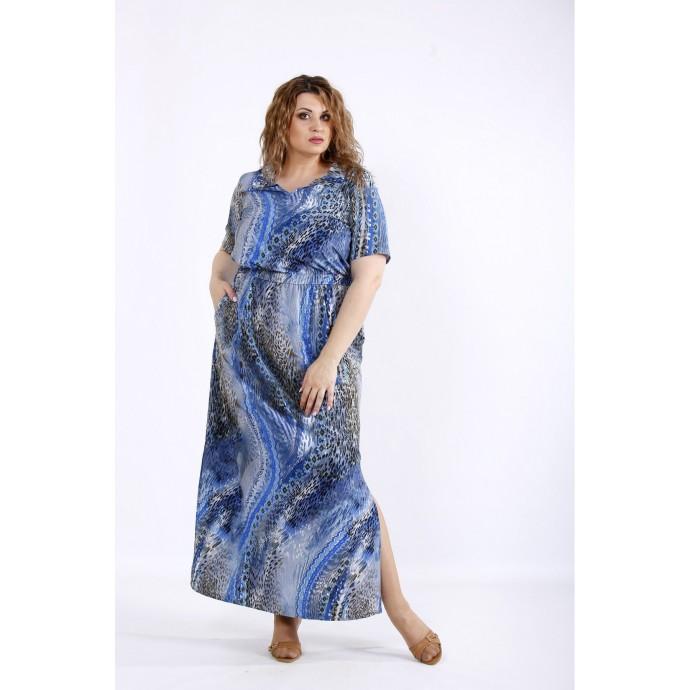 Летнее легкое голубое платье макси ККК44460-01190-2