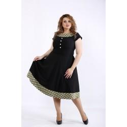 Черное платье с вставками хаки в горошек ККК44463-01189-2