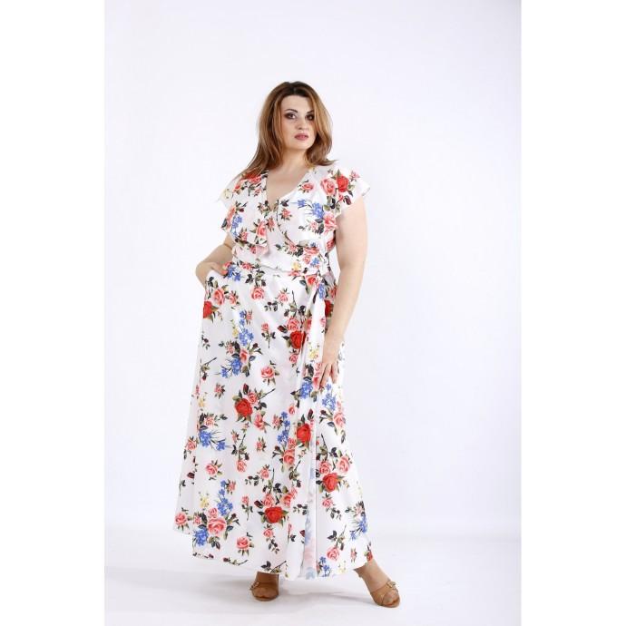 Белое длинное платье с цветами ККК55511-01224-2