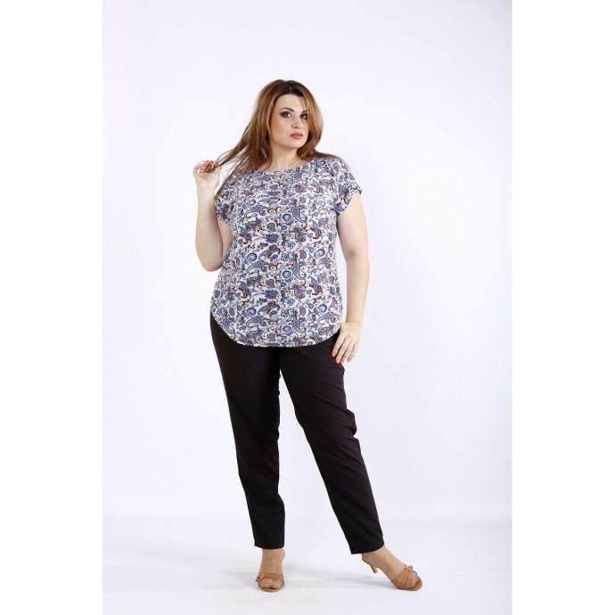Комплект с синим принтом: блузка и штаны ККК55518-01221-2