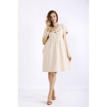 Бежевое легкое льняное платье ККК55525-01219-1