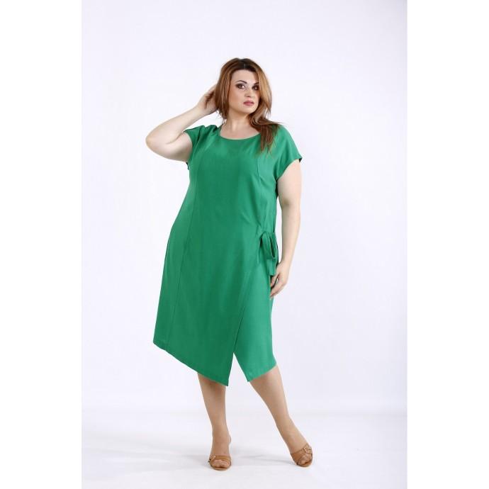 Зеленое платье из льна ККК55527-01218-2