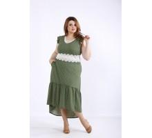 Зеленое платье в горошек с кружевом ККК55532-01216-3