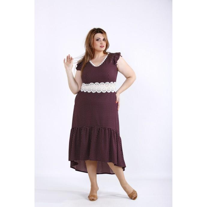 Классное бордовое платье в горошек ККК55533-01216-2