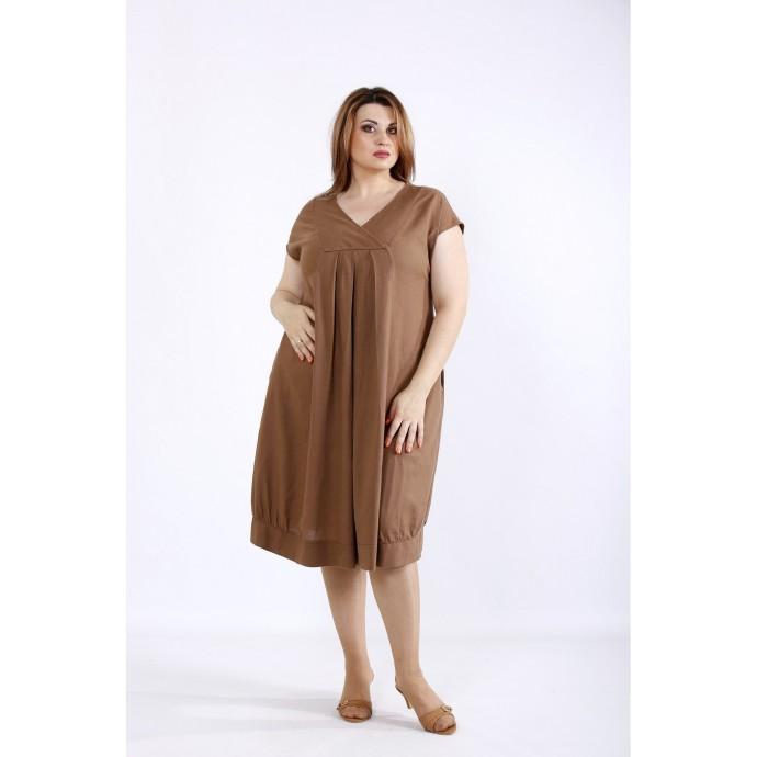 Шоколадное льняное платье ККК55539-01214-1