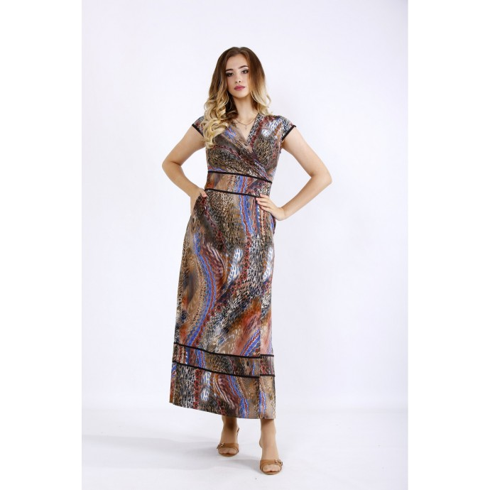Красивое коричневое платье в пол ККК55542-01213-1
