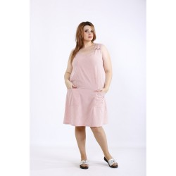Светлое платье в красную полоску ККК55544-01212-2