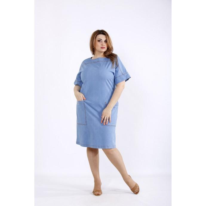 Голубое джинсовое платье с карманами ККК55548-01209-1
