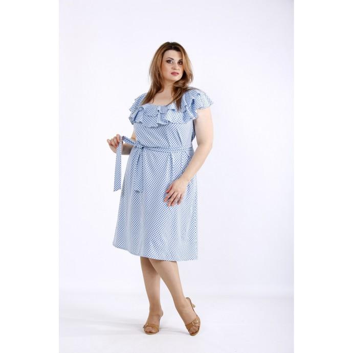Голубое платье в горошек ККК5559-01225-1