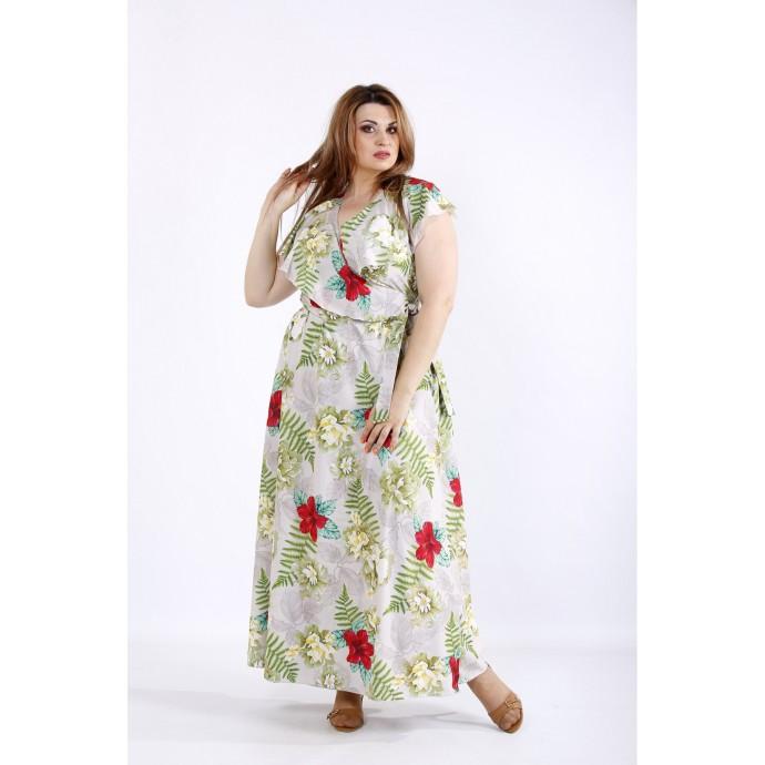 Красивое длинное бежевое платье ККК55510-01224-3