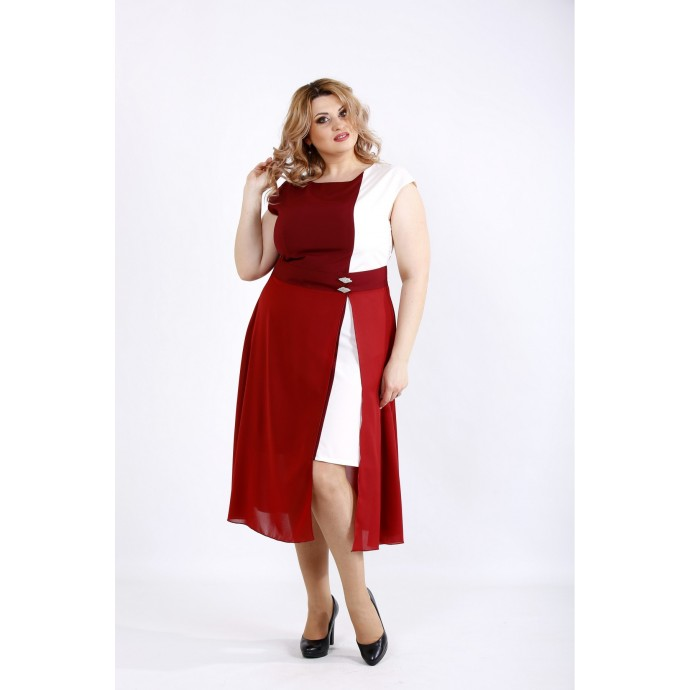 Бордовое с белым асимметричное платье с разрезом ККК22227-01127-2