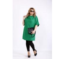 Зеленая льняная блузка-туника ККК22236-01124-2