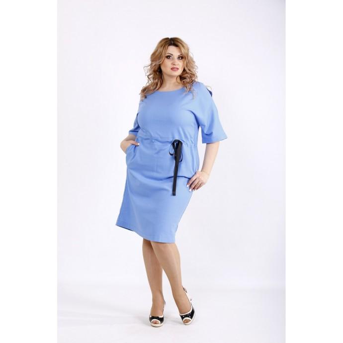 Голубое платье выше колена из льна ККК22248-01120-2