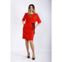 Коралловое льняное платье ККК22249-01120-1