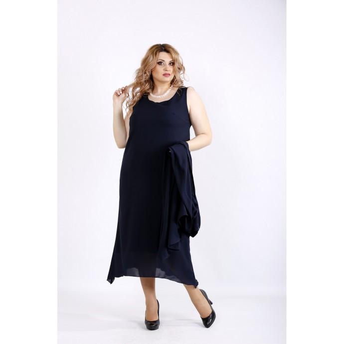 Синий костюм платье и накидка ККК22252-01119-1