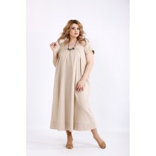 Бежевое длинное платье из льна ККК2221-01136-3