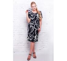 Платье темно-синее с белым принтом  АДЕЛИНА САД11121