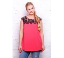 Блуза розовая с французским гипюром  ЛОЛА САД11116
