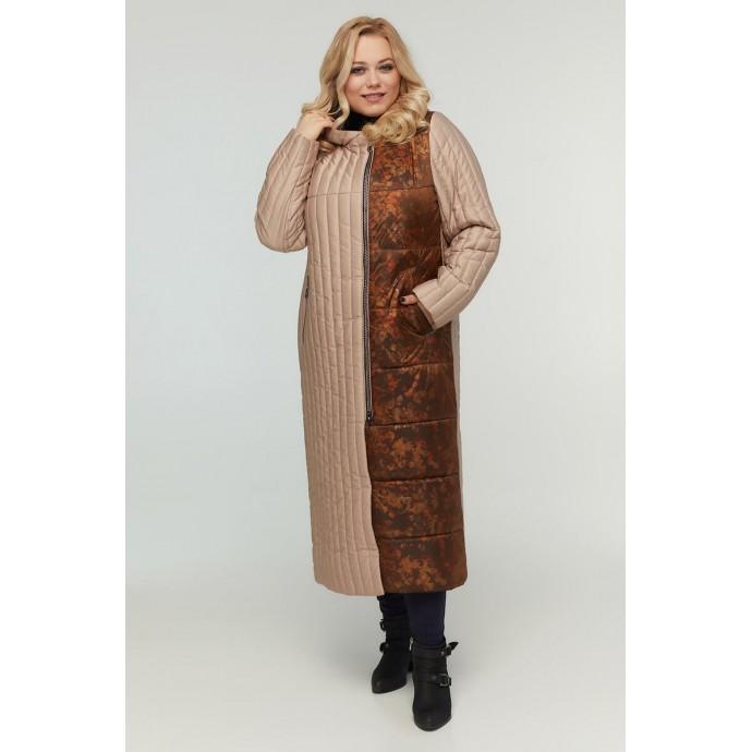 Женское длинное бежевое пальто РК11D2-922