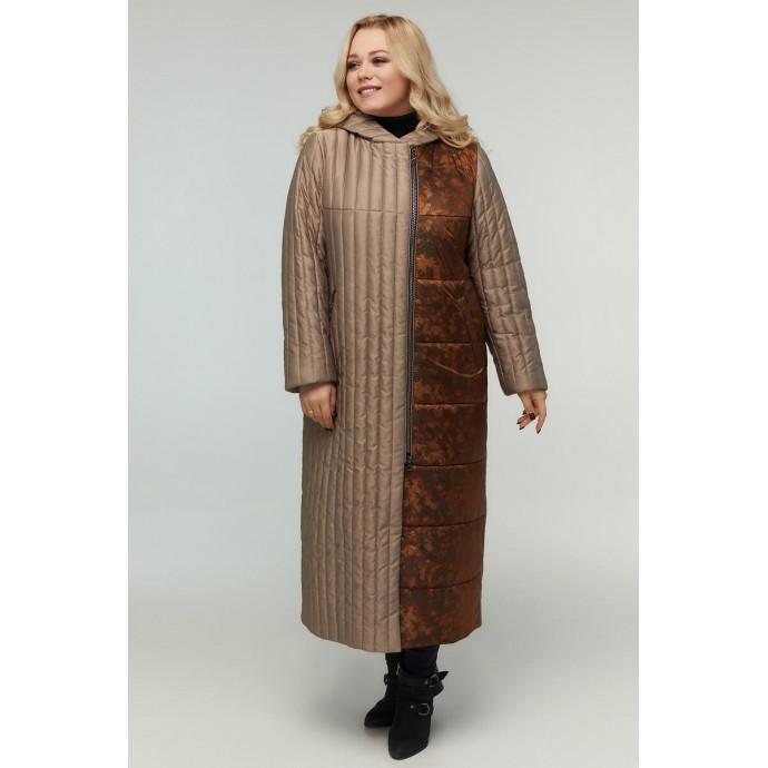 Длинное женское стёганное пальто РК11D1-922