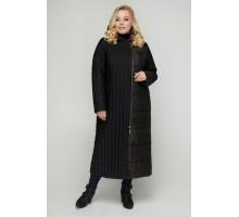 Черное длинное стеганное пальто РК11S1-922