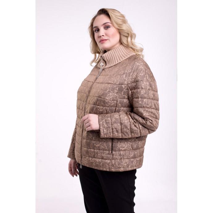 Бежевая осенняя куртка с принтом РК1111104-709