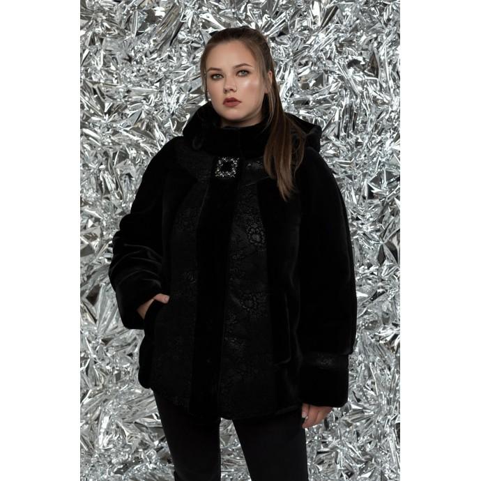 Черная модная шуба РК1111130-М759