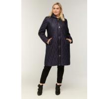 Синее стеганное пальто с карманами РК11S10-853