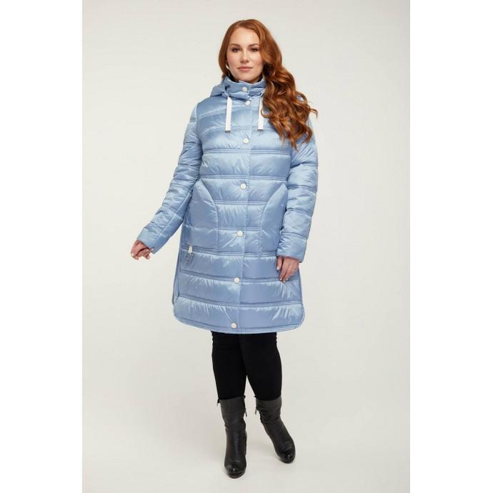 Голубое стеганное пальто РК11S13-857