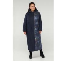Синее модное пальто на молнии РК11S3-893