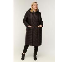 Модное черное стеганное пальто РК11S16-854
