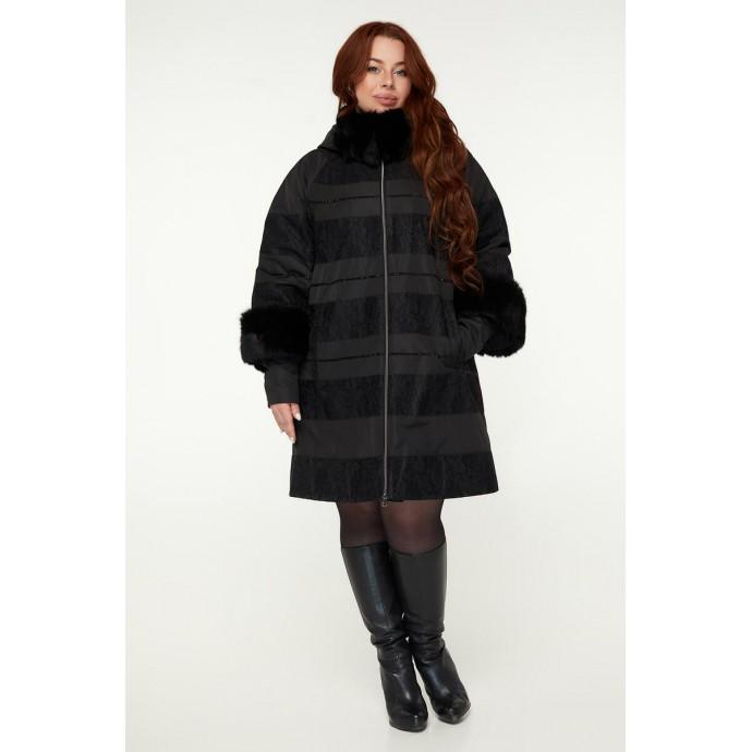 Черное стильное женское пальто РК11S48-841