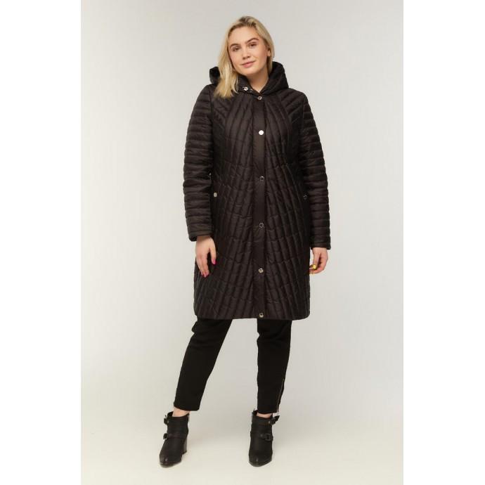 Черное стеганное пальто РК11S9-853